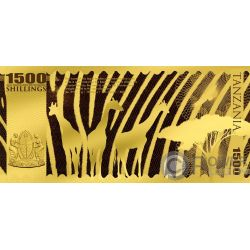 LION Big Five Foil Золото Note 1500 Шилингов Танзания 2018