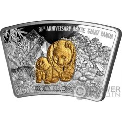 PANDA 35. Jahrestag Gilded Shape Fan 1 Kg Kilo Silber Münze 10$ Fiji 2017