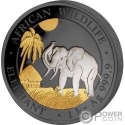 ELEPHANT Elefante Double Golden Enigma 1 Kg Kilo Moneda Plata 2000 Shillings Somalia 2017