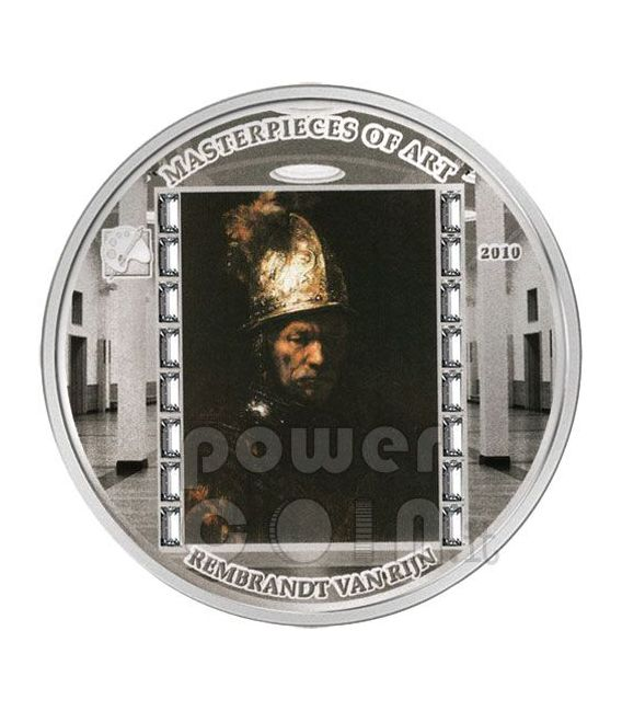 GOLDEN HELMET Rembrandt 3 Oz Silver Coin 20$ Cook Islands 2010