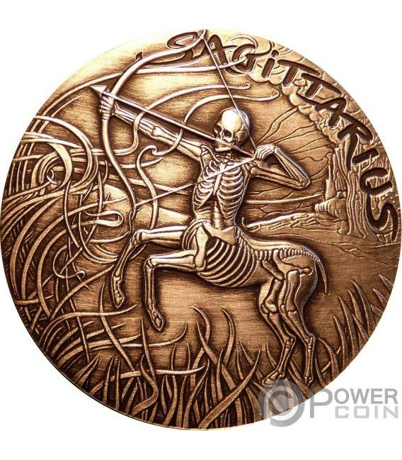 SAGITTARIUS Sagitario Memento Mori Zodiac Skull Horoscope Moneda Cobre 2015
