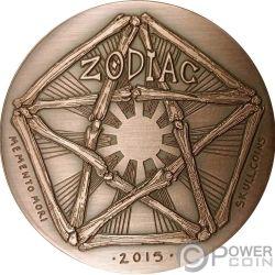 SAGITTARIUS Schütze Memento Mori Zodiac Skull Horoscope Copper Münze 2015