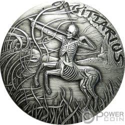 SAGITTARIUS Memento Mori Zodiac Skull Horoscope Silver Coin 2015