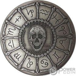 SAGITTARIUS Sagittario Memento Mori Zodiac Skull Horoscope Moneta Argento 2015