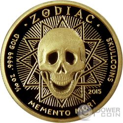 CAPRICORN Memento Mori Zodiac Skull Horoscope Gold Coin 2015