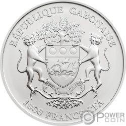ROOSTER Gallo Lunar Skulls Chinese Year 1 Oz BU Moneda Plata 1000 Francos Gabon 2017