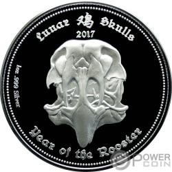 ROOSTER Gallo Lunar Skulls Chinese Year 1 Oz Proof Moneta Argento 1000 Franchi Gabon 2017