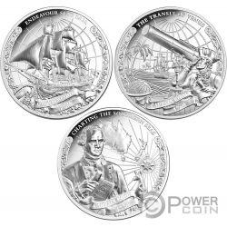 CAPTAIN COOK Kapitän 250. Jahrestag Set 3x1 Oz Silber Münzen 5$ Cook Islands 2018