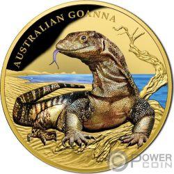 AUSTRALIAN GOANNA Varano Gigante Remarkable Reptiles 1 Oz Moneta Oro 100$ Niue 2017