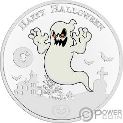 GHOST Fantasma Halloween Glow In The Dark 1 Oz Moneta Argento 2$ Niue 2017