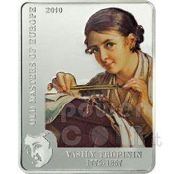 VASILY TROPININ Lace Maker Silber Münze 5$ Cook Islands 2010