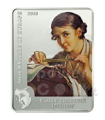 VASILY TROPININ Lace Maker Silver Coin 5$ Cook Islands 2010