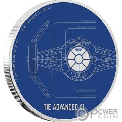 TIE ADVANCED X1 Star Wars Ships 1 Oz Silver Coin 2$ Niue 2017