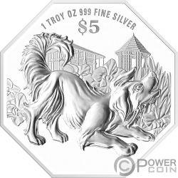 YEAR OF THE DOG Perro Chinese Almanac 1 Oz Moneda Plata 5$ Singapore 2018