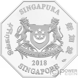 YEAR OF THE DOG Perro Chinese Almanac 1 Oz Moneda Plata 5$ Singapore 2018