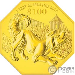 YEAR OF THE DOG Perro Chinese Almanac 1 Oz Moneda Oro 100$ Singapore 2018