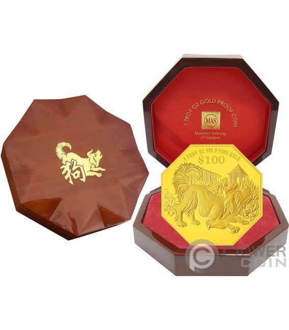 YEAR OF THE DOG Anno Cane Chinese Almanac 1 Oz Moneta Oro 100$ Singapore 2018