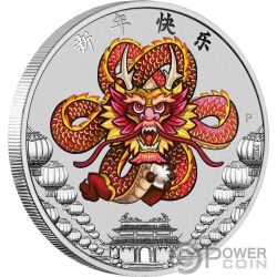 CHINESE NEW YEAR 1 Oz Silver Coin 1$ Tuvalu 2018