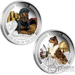 WEALTH AND WISDOM Year Dog Lunar Good Fortune 2x1 Oz Silber Münzen 1$ Tuvalu 2018