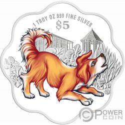 YEAR OF THE DOG Hund Jahr Blütenform Chinese Almanac 1 Oz Silber Münze 5$ Singapore 2018