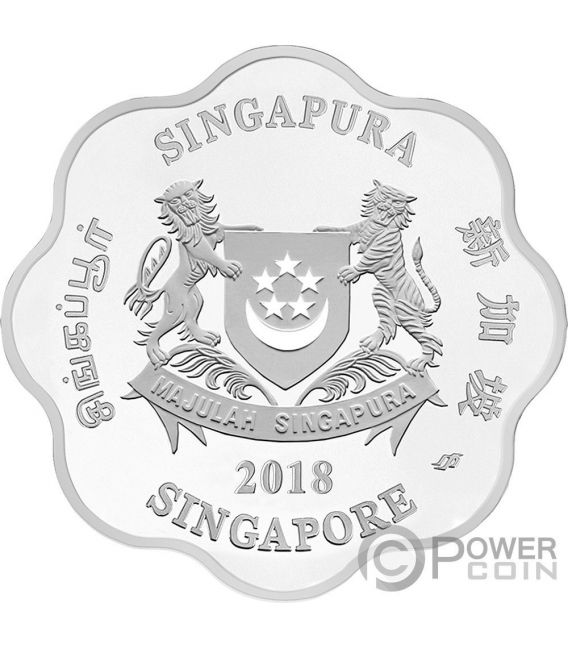 YEAR OF THE DOG Anno Cane Forma Fiore Chinese Almanac 1 Oz Moneta Argento 5$ Singapore 2018