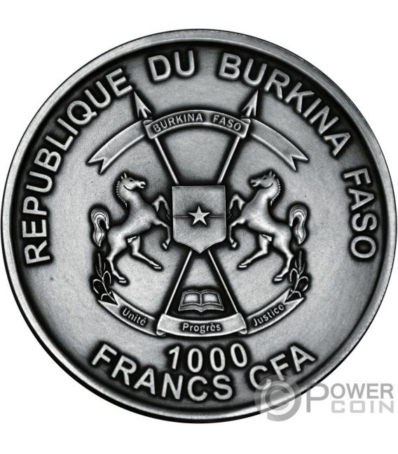 ECHINOIDEA Riccio di Mare World of Evolution 1 Oz Moneta Argento 1000 Franchi Burkina Faso 2017