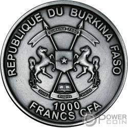 MOSASAURUS World of Evolution 1 Oz Серебро Монета 1000 Франков Буркина-Фасо 2017