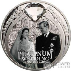 PLATINUM WEDDING 70. Jahrestag 1 Oz Silber Münze 1$ New Zealand 2017