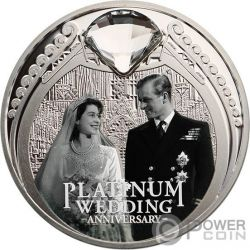 PLATINUM WEDDING 70th Anniversary 1 Oz Серебро Монета 1$ Новая Зеландия  2017