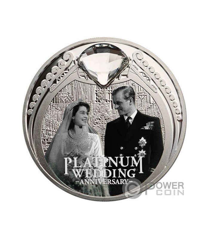 Platinum Wedding 70th Anniversary 1 Oz Silver Coin 1 New