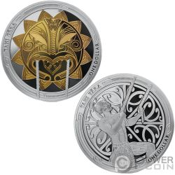 MAUI AND THE SUN Sole Tama Nui Te Ra Set 2x1 Oz Monete Argento 1$ New Zealand 2018