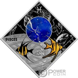 PISCES Piscis Zodiac Signs Moneta Plata 100 Denars Macedonia 2018