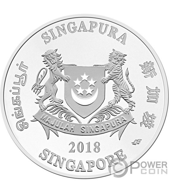 YEAR OF THE DOG Chinese Almanac 5 Oz Silver Coin 20$ Singapore 2018