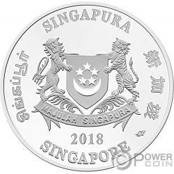 YEAR OF THE DOG Perro Chinese Almanac 5 Oz Moneda Plata 20$ Singapore 2018