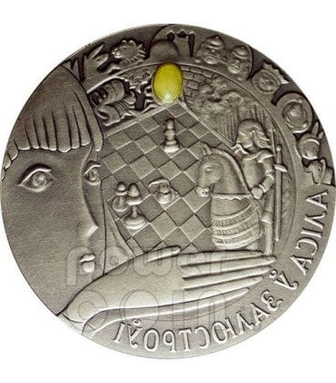 ALICE THROUGH THE LOOKING GLASS Silver Coin Amber Belarus 2007