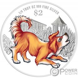 YEAR OF THE DOG Coloured Chinese Almanac Silber Münze 2$ Singapore 2018