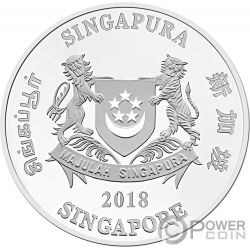 YEAR OF THE DOG Coloured Chinese Almanac Silver Coin 2$ Singapore 2018