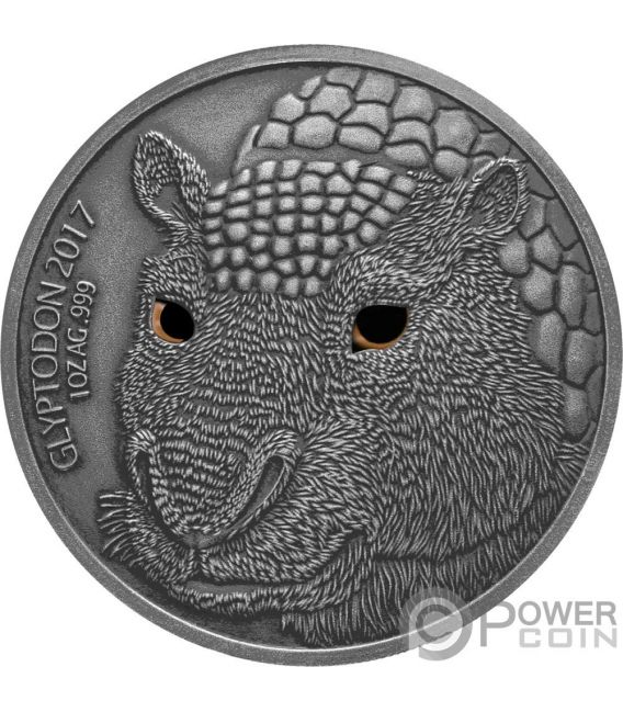GLYPTODON Mother Real Eye Effect 1 Oz Silver Coin 1000 Francs Burkina Faso 2017
