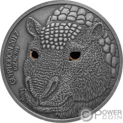 GLYPTODON Madre Efecto Ojo Real 1 Oz Moneda Plata 1000 Francos Burkina Faso 2017