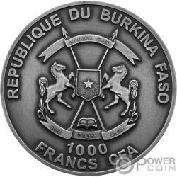 GLYPTODON Mother Real Eye Effect 1 Oz Серебро Монета 1000 Франков Буркина-Фасо 2017