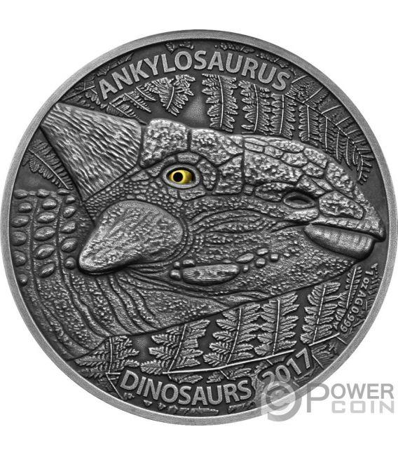 ANKYLOSAURUS Anchilosauro Effetto Occhio Reale 1 Oz Moneta Argento 1000 Franchi Burkina Faso 2017