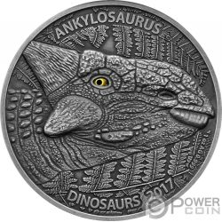 ANKYLOSAURUS Real Eye Effect 1 Oz Silver Coin 1000 Francs Burkina Faso 2017