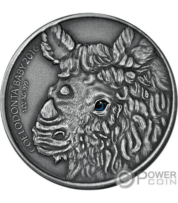 WOOLLY RHINOCEROS Rinoceronte Lanoso Baby Effetto Occhio Reale 1 Oz Moneta Argento 1000 Franchi Burkina Faso 2016