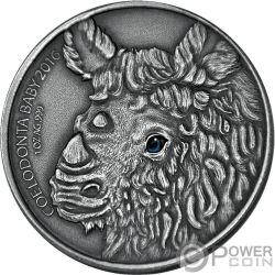 WOOLLY RHINOCEROS Baby Real Eye Effect 1 Oz Silver Coin 1000 Francs Burkina Faso 2016