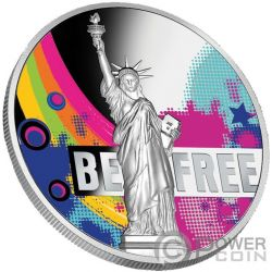 BE FREE Estatua Libertad 2 Oz Moneda Plata 500 Francos Cameroon 2018
