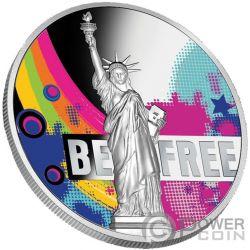 BE FREE Statua Liberta 2 Oz Moneta Argento 2000 Franchi Cameroon 2018