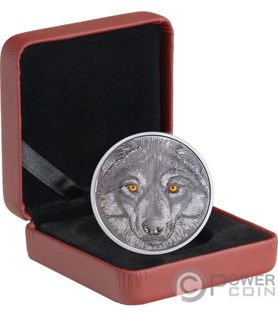 WOLF Lobo In The Eyes Of The Glow In The Dark Moneda Plata 15$ Canada 2017