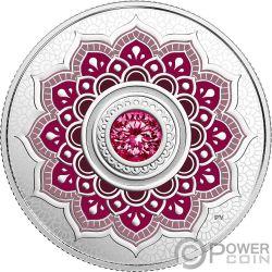 JANUARY Birthstone Swarovski Crystal Silver Coin 5$ Canada 2018