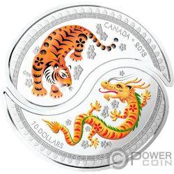 YIN YANG Tigre Dragon Set 2 Monedas Plata 10$ Canada 2018