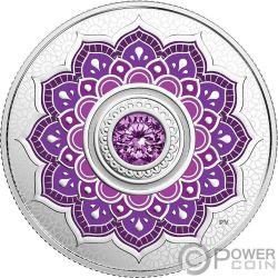 FEBRUARY Birthstone Swarovski Crystal Silver Coin 5$ Canada 2018
